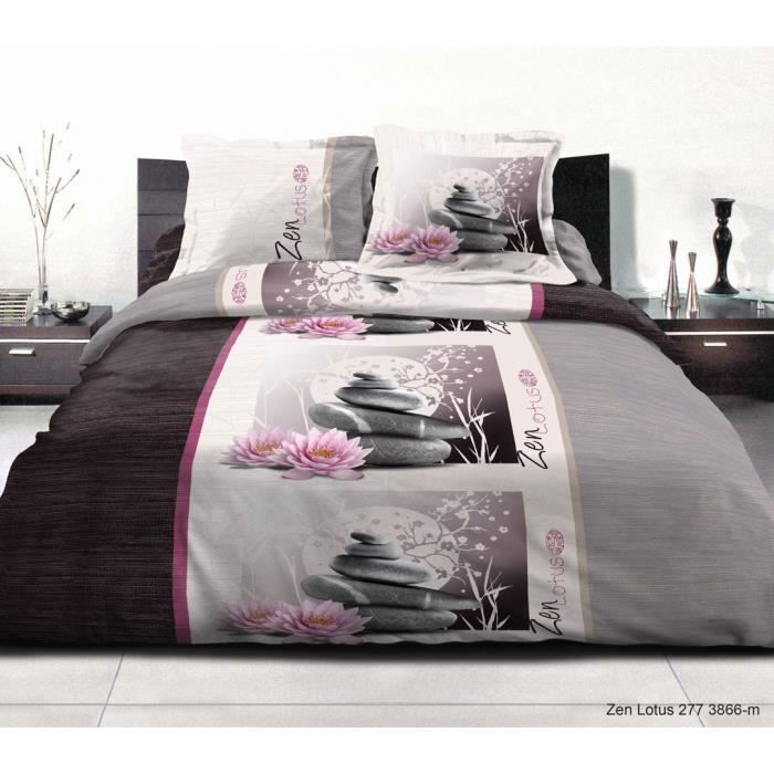 housse de couette imprim 2 personnes 220x240 zen lotus. Black Bedroom Furniture Sets. Home Design Ideas