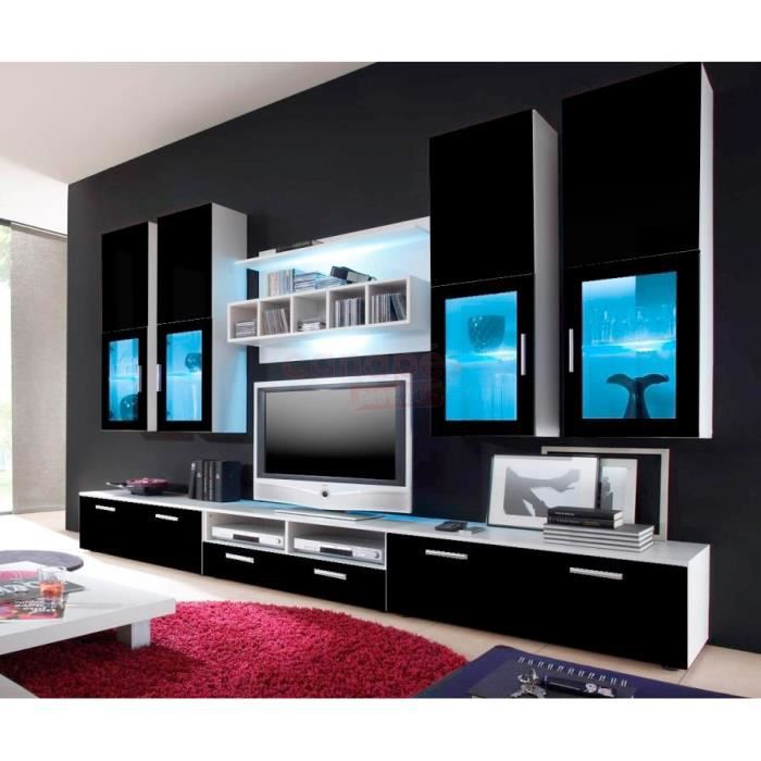 meuble tv design ref alafao noir 3m achat vente meuble tv meuble tv design ref alafao mdf. Black Bedroom Furniture Sets. Home Design Ideas