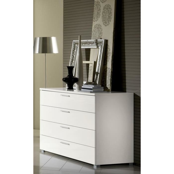 Commode design 4 tiroirs box com4 blanc laqu achat Commode blanc laque