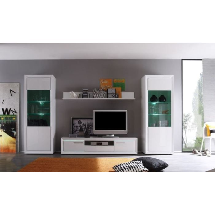 Ensemble salon lumineux comete 87l laqu blanc achat for Ensemble salon blanc