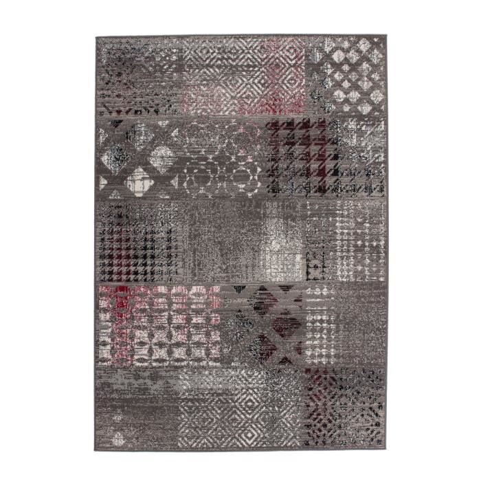 tapis de salon patchwork design gris 190x280 cm achat vente tapis cdiscount. Black Bedroom Furniture Sets. Home Design Ideas