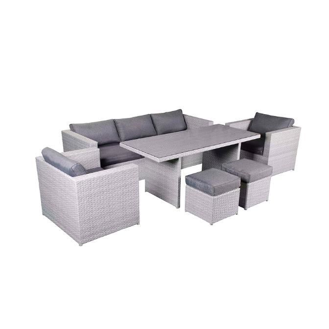 Salon de jardin 6 pcs 1 Grande Table 2 Tabourets 2 Fauteuils 1 ...