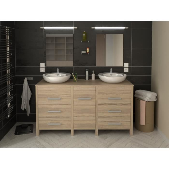 meuble de salle de bain hero double vasque 150 cm finition ch ne l 150 x l 46 x h 82 achat. Black Bedroom Furniture Sets. Home Design Ideas