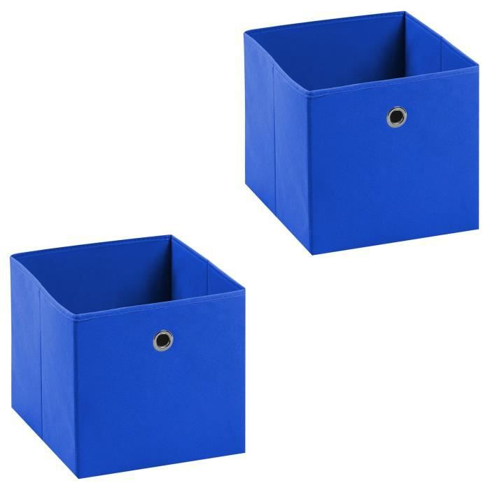 ACCESS MEUBLE A CASE Lot de 2 tiroirs en tissu bleu ELA boîte de rangem