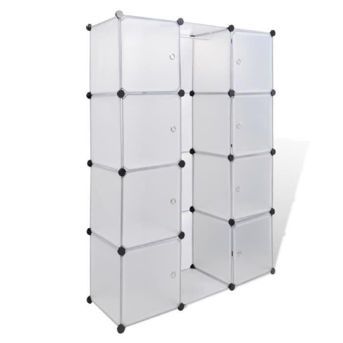 ARMOIRE DE CHAMBRE Cabinet Modulable Blanc 9 compartiments 37 x 115 x
