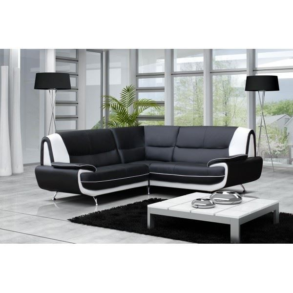 Canap d 39 angle imitation cuir achat vente canap sofa divan cdi - Canape d angle imitation cuir ...