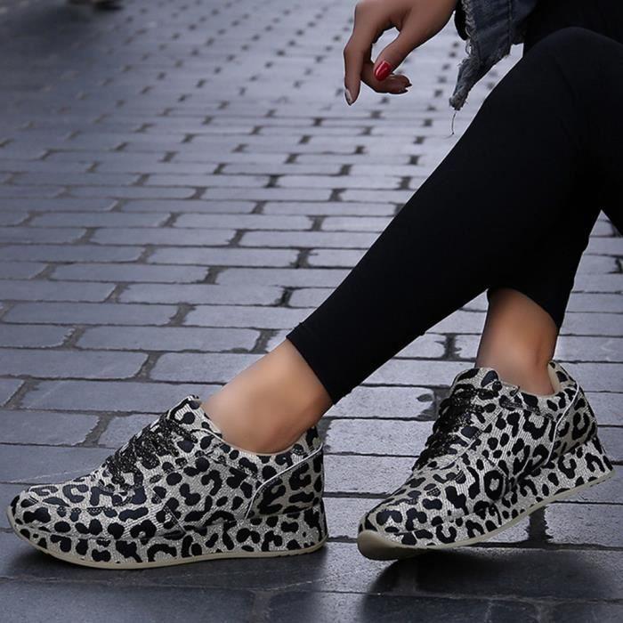 BASKET Femmes Leopard FASHION Imprimer sauvages Chaussure