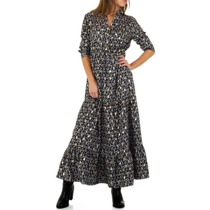 Robe Noire Longue Noemie Kent Motif Fleurs Or Brillant Scintillante Ethnique Noir Noir Achat Vente Robe Cdiscount