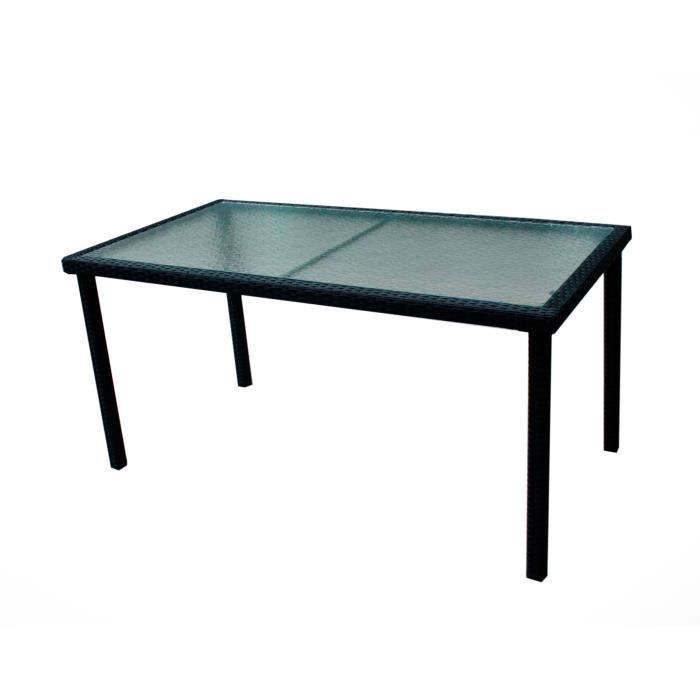table de jardin en r sine tress e et plateau verre 140 cm achat vente table de jardin table. Black Bedroom Furniture Sets. Home Design Ideas