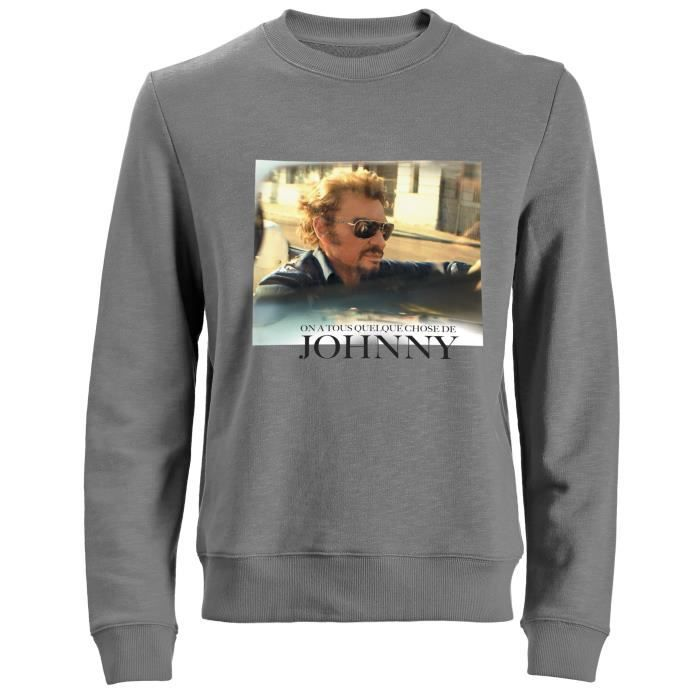 Sweat Photo Johnny Hallyday - Homme - Gris