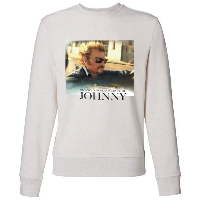 Sweat Photo Johnny Hallyday - Homme - Blanc
