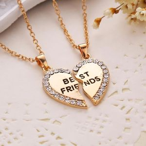 SAUTOIR ET COLLIER Double collier Best Friends argenté strass