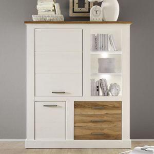 BUFFET - BAHUT  Argentier bois et blanc moderne LIZA Sans L 130 x