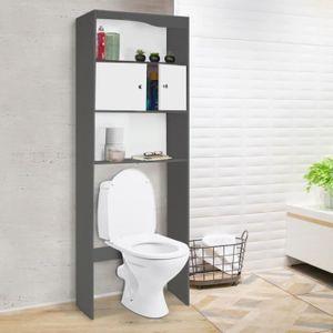 COLONNE - ARMOIRE WC Meuble étagère dessus WC bois coloris gris portes