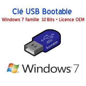CLÉ USB Clé USB 8Go Bootable Windows 7 Pro 32 Bits + Licen