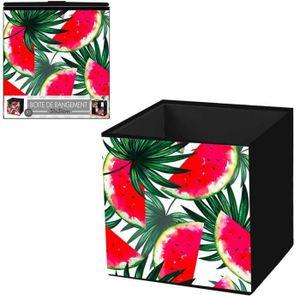 BOITE DE RANGEMENT Cube de rangement 'Pastèque' rouge vert - 31x31 cm