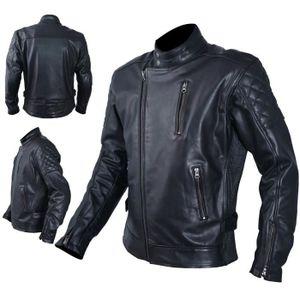 BLOUSON - VESTE Blouson Cuir Homme Moto Protections CE Veste Vinta