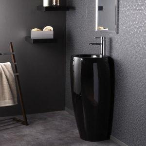 LAVABO - VASQUE Lave Main Totem Rond - Céramique Noir - 39x85 cm -