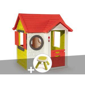 MAISONNETTE EXTÉRIEURE Cabane enfant My House - Smoby + Tabouret 115 x 12