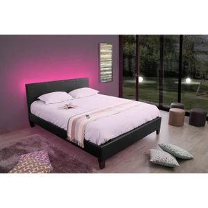 STRUCTURE DE LIT NIGHT Lit en Simili cuir 140 x 190 cm  Blanc