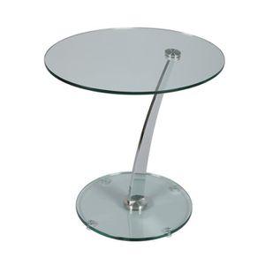 TABLE D'APPOINT Guéridon rond Acier/Verre - GLASS n°7 - L 60 x l 5