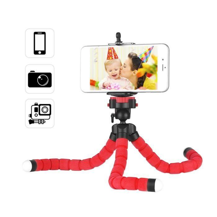Support de trépied mini-éponge flexible Octopus avec clip Smartphone Vis 1-4 pouce pivotant à 360 ° pour Rotule pour iPhone H
