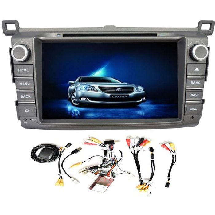 GPS Navigation Android Autoradio 4.4 écran tactile capacitif Lecteur DVD de voiture pour Toyota RAV4 RAV4 2013-2014 8 pouces