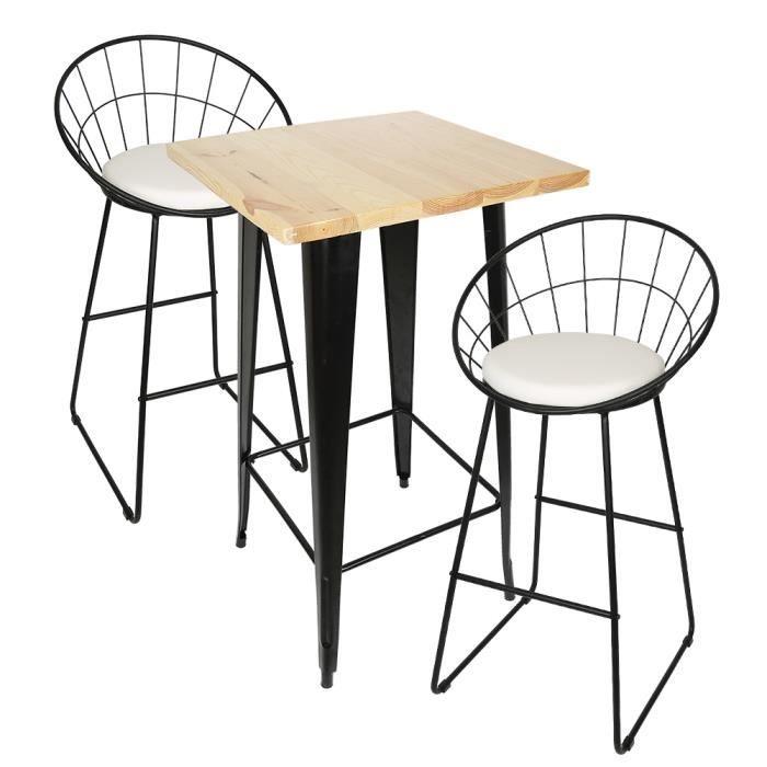 Table bar de 2 à 4 personnes style industriel Table haute en métal acier et bois