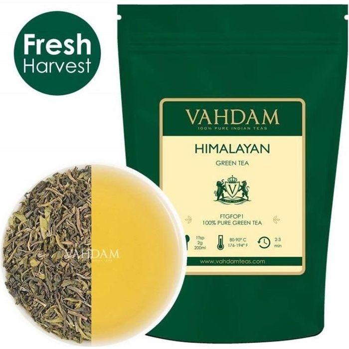 VAHDAM, Feuilles de Thé Vert de l'Himalaya, 100g (50 Tasses), Thé 100% Naturel, ANTIOXYDANTS PUISSANTS, Infusion Chaude, Glacée ou