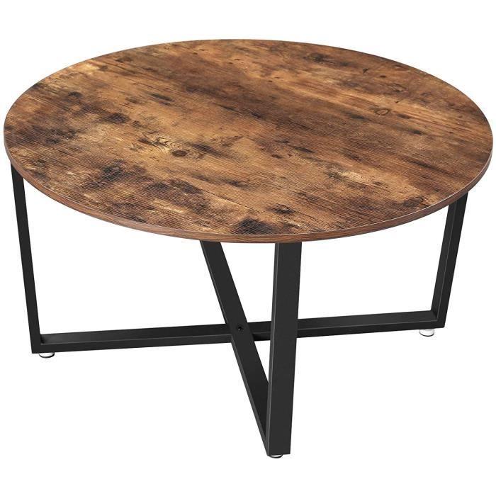 Table basse ronde de salon style industriel cadre métallique durable 12_0001006