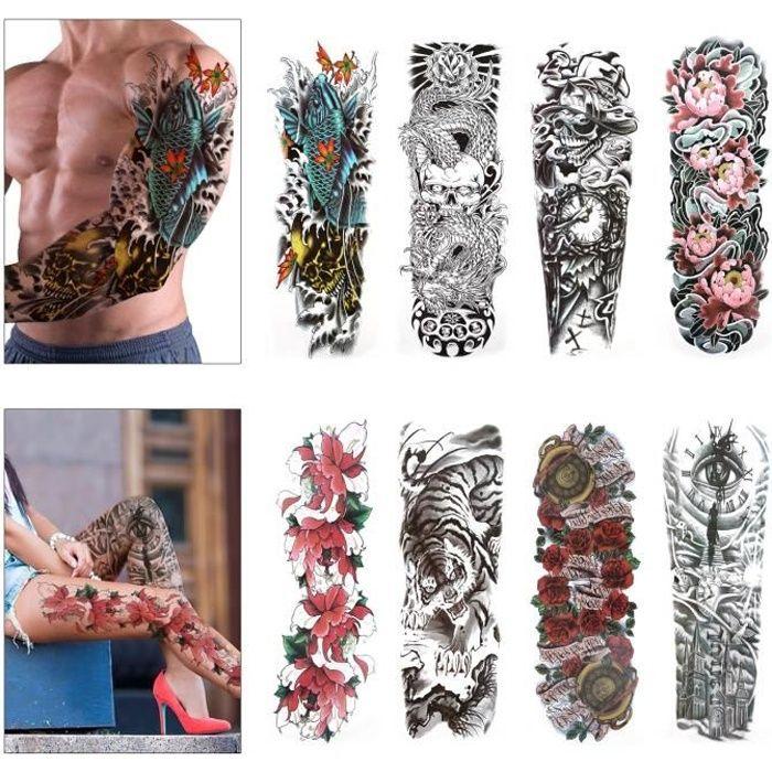Konsait Tatouage temporaire pour homme femmes, Manchette tatouage Tattoo noir body tattoo Sticker bras Tatouages éphémères, Lion,