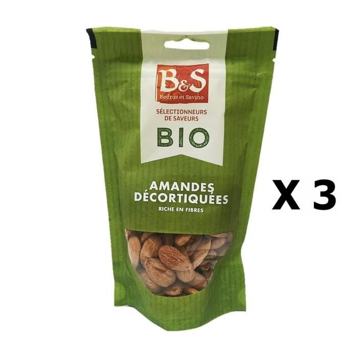 Lot 3x Amandes décortiquées BIO - B&S - paquet 125g