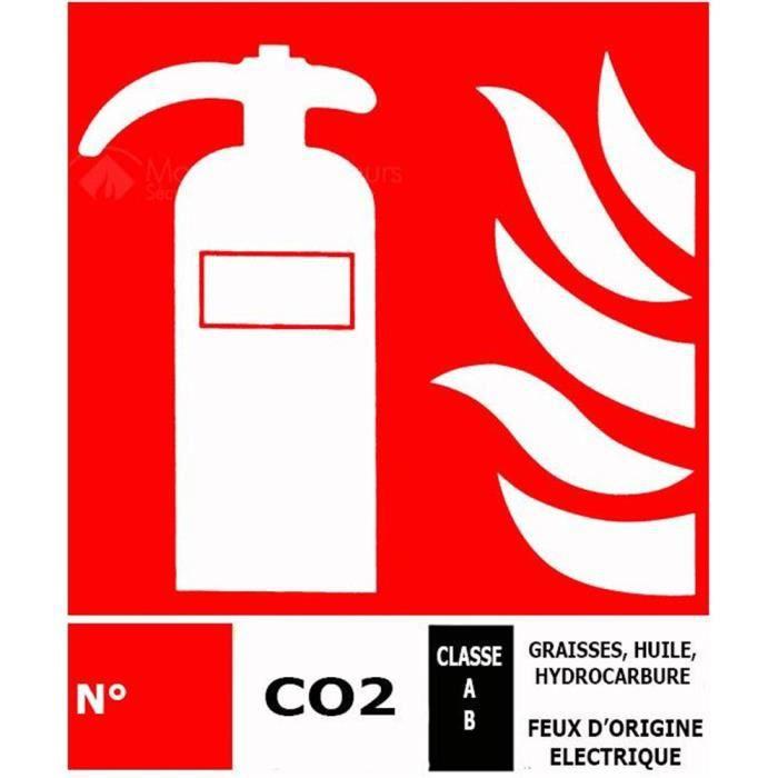 Grand panneau pictogramme extincteur CO2 - Materiel Incendie