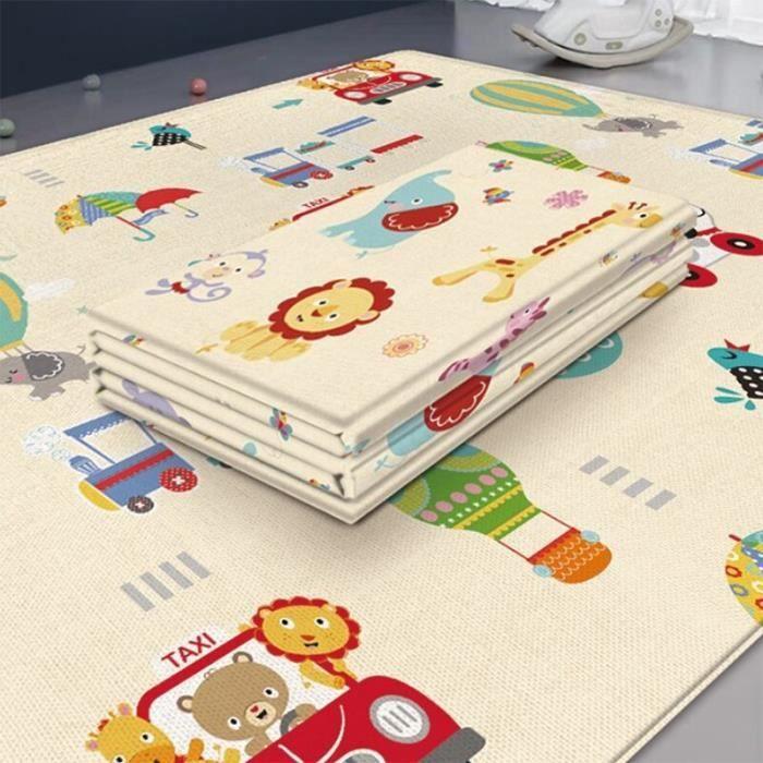 Tapis d'éveil,Pliable enfants ramper tapis Double face étanche chambre décor mousse douce enfants - Type Animal kingdom-180cmX100cm