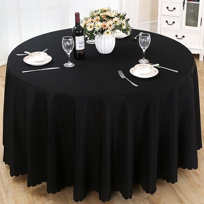 Nappe de table, Nappe ronde, Nappe ronde 240 cm, Nappe ronde antitache, Nappe exterieur table ronde - Noir