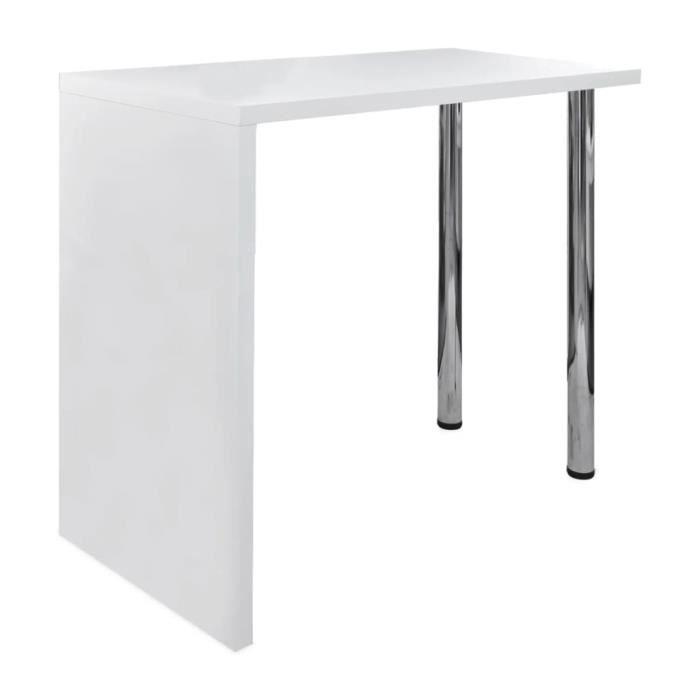 •8603SOLDE Table de Bar Table de Comptoir Table Haute-Table de Bar Extérieur-Mange-debout Cuisine MDF avec 2 pieds en acier Haut bri