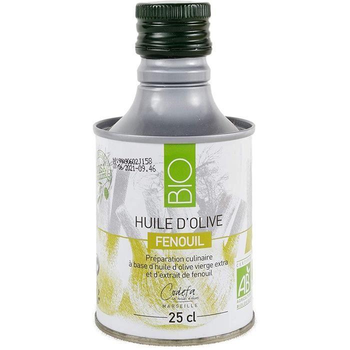 CODEFA les huiles - Huile d'olive 25 cl - Bouteille en métal - Vierge Extra - BIO - Fenouil - Qualité supérieure