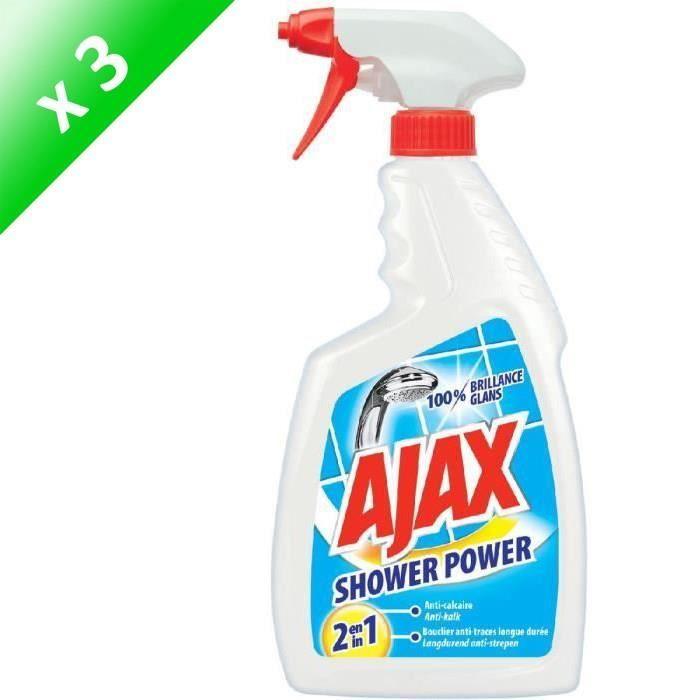 AJAX Lot de 3 nettoyants sanitaires anticalcaires Shower Power - 750 ml