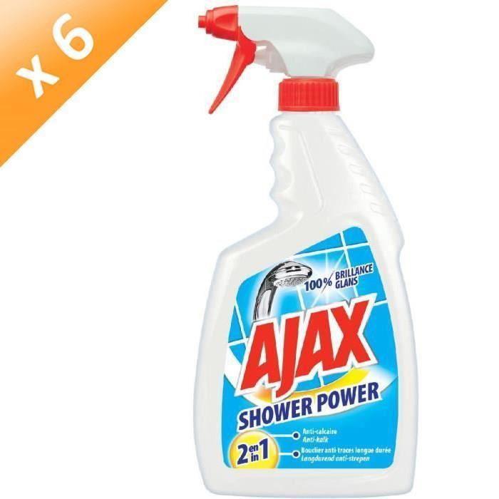 AJAX Lot de 6 nettoyants sanitaires anticalcaires Shower Power - 750 ml