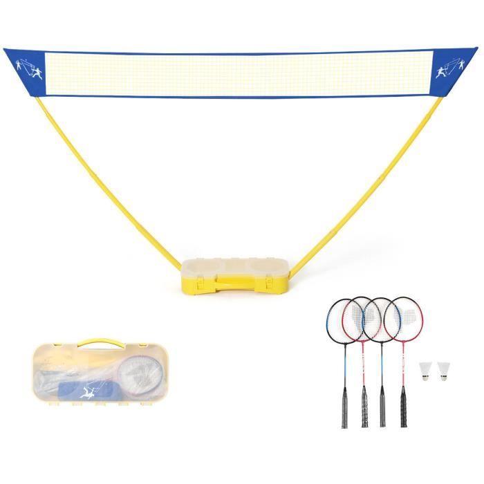 COSTWAY Filet de Badminton Portable 3M x 1,5 M avec Base de Rangement et Sac de Transport,2 Raquettes, 2 Volants pour Jeu de Plage