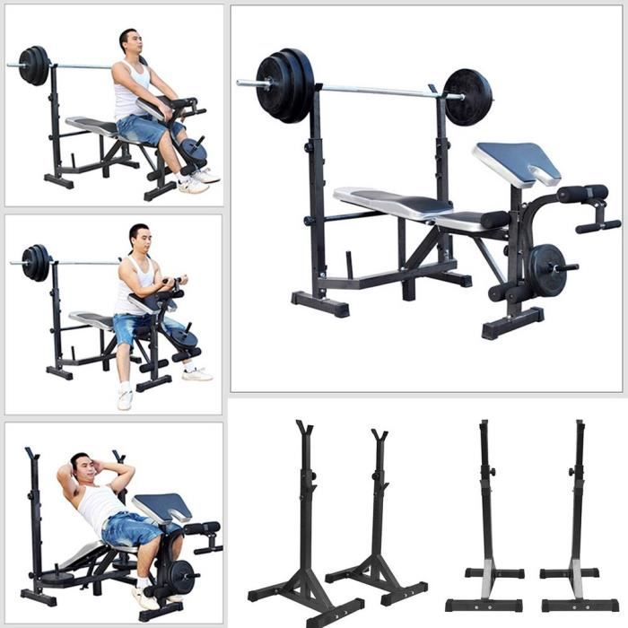 Rack à exercice Fitness Supports de Squat Paire de Supports Réglable en acier massif