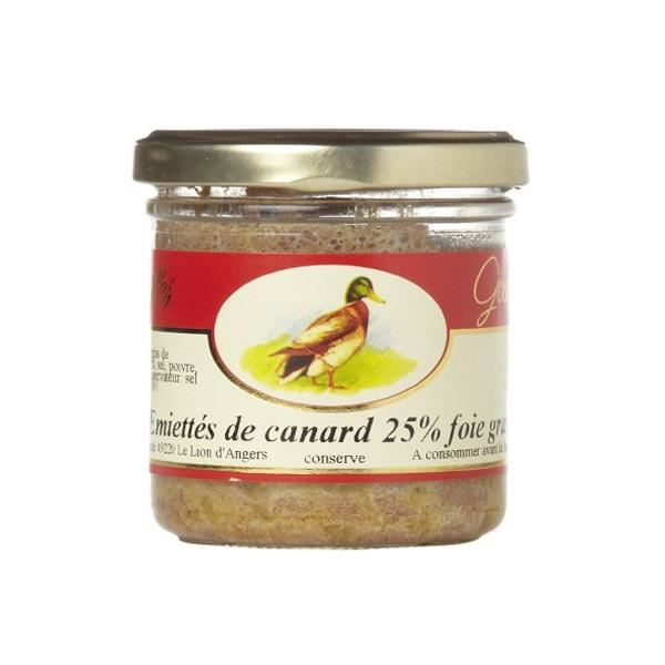 Emietté de canard, 25 % de foie gras, Verrine 125 gr