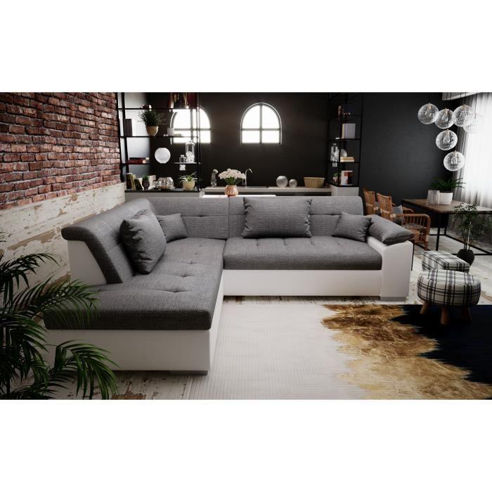 PEYTON - canapé d'angle convertible - angle gauche - gris blanc