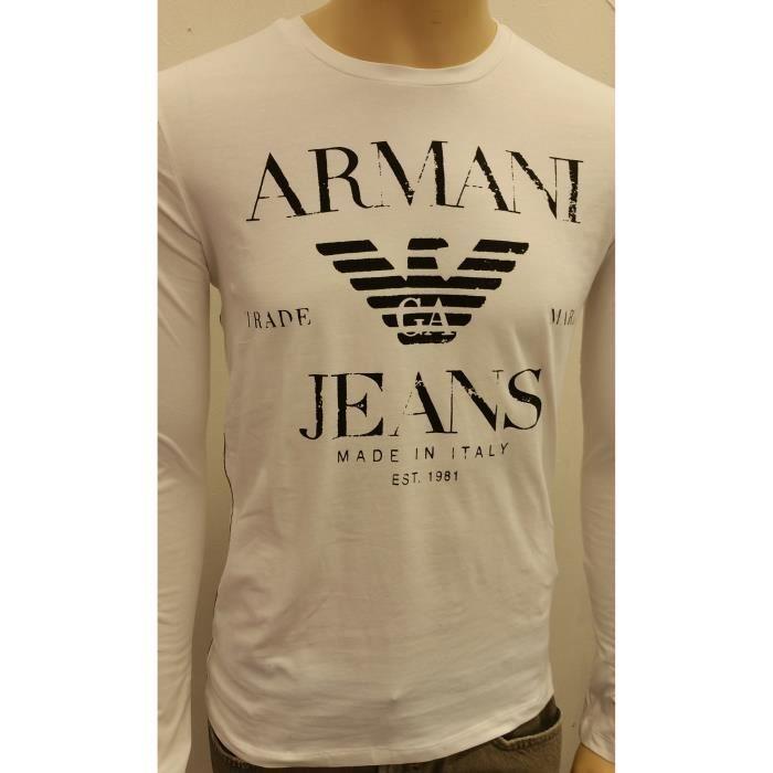 Armani Jeans-Tee Shirt Armani Jeans manches longues blanc pour homme