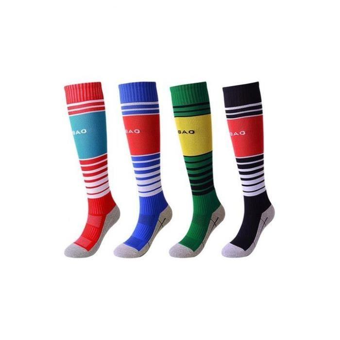 Lot de 4 Paires Chaussettes de Football Enfant Chaussettes de Sport Protection Respirantes Antidérapant - Rouge bleu vert noir