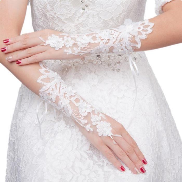 1 paire de gants dentelle fleur mode mariée évider bandage rosée doigt décorations robe accessoires