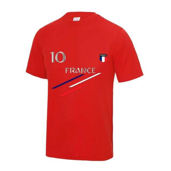 rouge Maillot - Tee shirt foot Fra