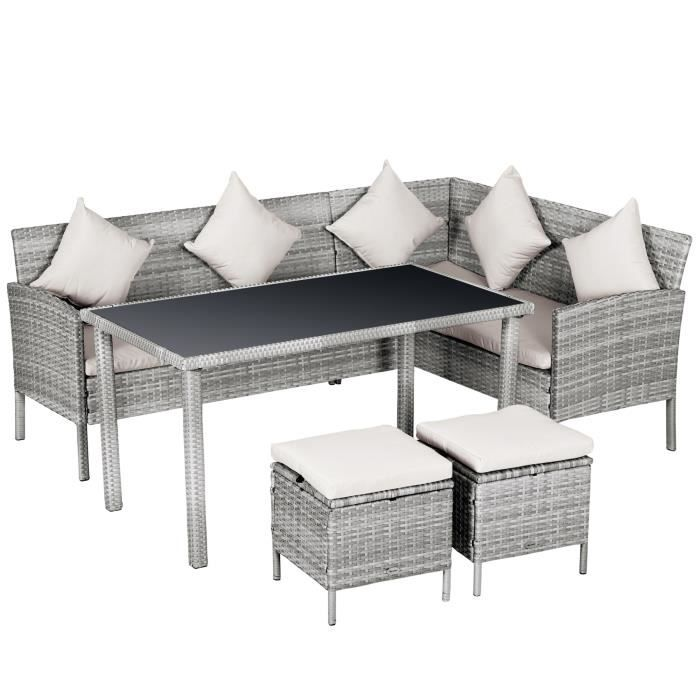 Salon de jardin 6 pers. grand confort canapé d'angle + 2 poufs + table à manger 9 coussins assise & dossier fournis résine tressée