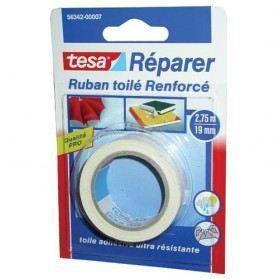 TESA Ruban de réparation Toilé Super résistant - 2,75m x 19mm - Blanc
