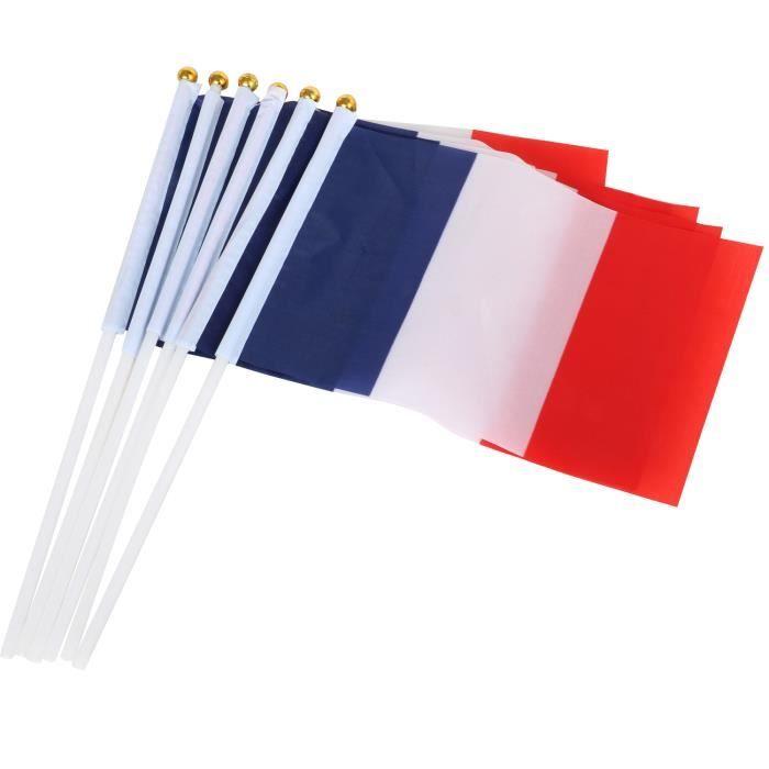10 drapeaux Français en nylon tricolore à main pour le 14 Juillet TRIXES
